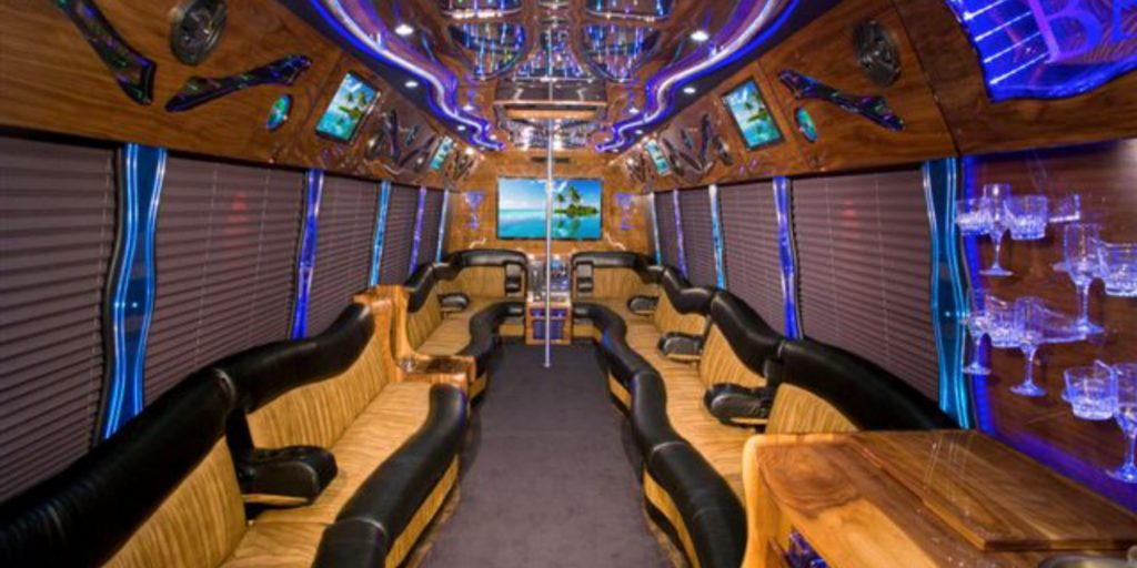 Interior of a party bus used for bachelor and bachelorette parties